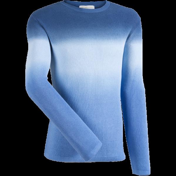 Rundhalspullover mit Verlauf -blau-