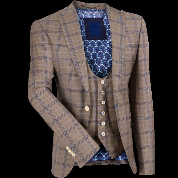 Anzug WILLIAM mit Weste -beige/blau-