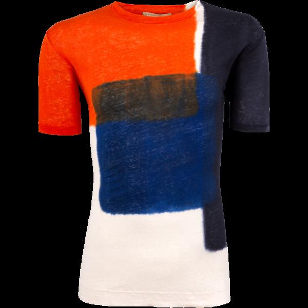 Leinen T-Shirt -orange batik-