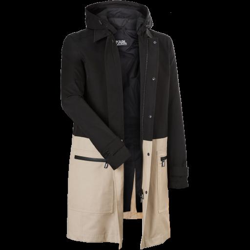 Zweifarbiger Mantel -schwarz beige-