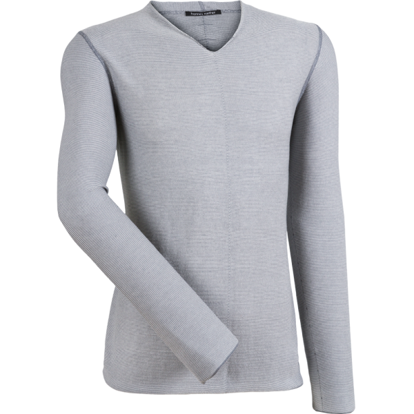 V-Neck Pullover COMBO -weiss/grau-